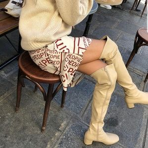 Beige Side Zipper Knee-High Boots